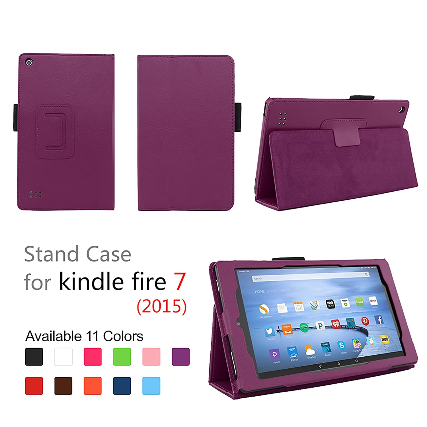 "Case for Fire 7 - Elsse Premium Folio Case with Stand for the NEW Fire, 7"" Display (Sept, 2015 Release) - Purple"