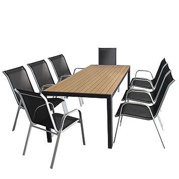9tlg. Sitzgarnitur Gartentisch, Aluminiumrahmen, Polywood Tischplatte braun, 205x90cm +8x Stapelstuhl silber, Textilenbespannung schwarz / Gartengarnitur Sitzgruppe