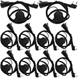 Tenq D Shape Earpiece Headset PTT for Kenwood Puxing Wouxun Baofeng Two Way Radio Walkie Talkie 2pin(10 Pack) (Color: Pack of 10)