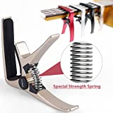 Professional Ukulele Capo, Colorful Creative Mini Size Trigger Style Uke Capo, Quick Change, Total Metal Material, Quality Steel Spring (Silver) (Color: Silver)