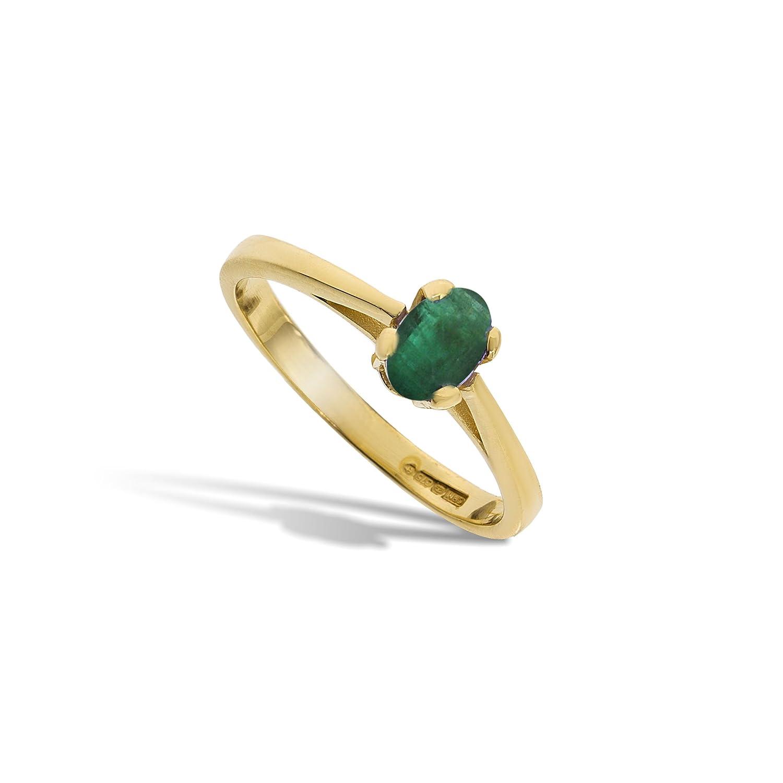 Edler 9 Karat (375) Gold Solitär Verlobung Damen – Ring mit Smaragd 0.60 Karat als Weihnachtsgeschenk kaufen
