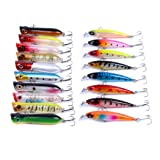 Aorace Fishing Poppers Minnow Laser Lures 3D Eyes Jerk Bait Topwater Hard Popper Lures For Bass Salmon Trout Swimbaits 18Pcs/lot Fishing Tackle Set Saltwater Freshwater (Color: Type 4-18pcs Multi-size)