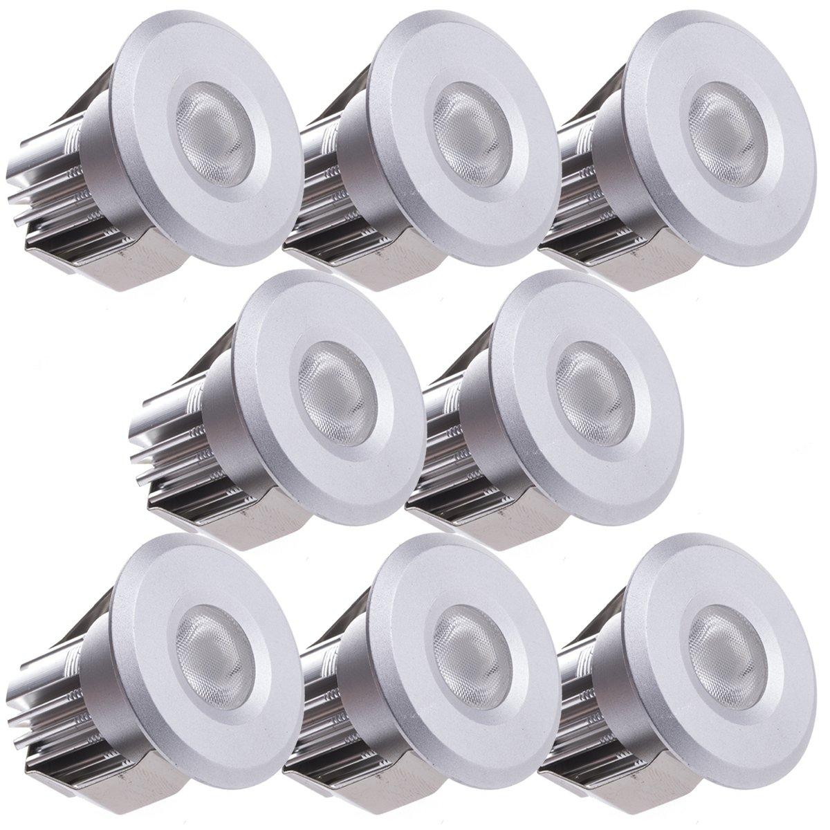 Sensati Kleine Miniatur LED Einbauleuchte Downlight Spot Set zu 8 Stück, dimmbar, 1200 lm, inklusive Treiber, Gehäusefarbe silber, kaltweiß T102 8 CW S