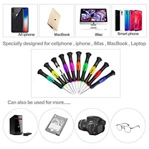 Kaisi Precision Screwdriver Set Professional Electronics Repair Tool Kit with Phillips Flathead and Torx Star Magnetic Bit Compatible for iPhone, iMac, MacBook, Laptop, Tablet PC and More - 18 Piece (Color: 2408New, Tamaño: 18 pcs)