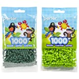 Perler Bead Bag 1000, Bundle of Evergreen and Kiwi Lime (2 Pack) (Color: Evergreen & Kiwi Lime)