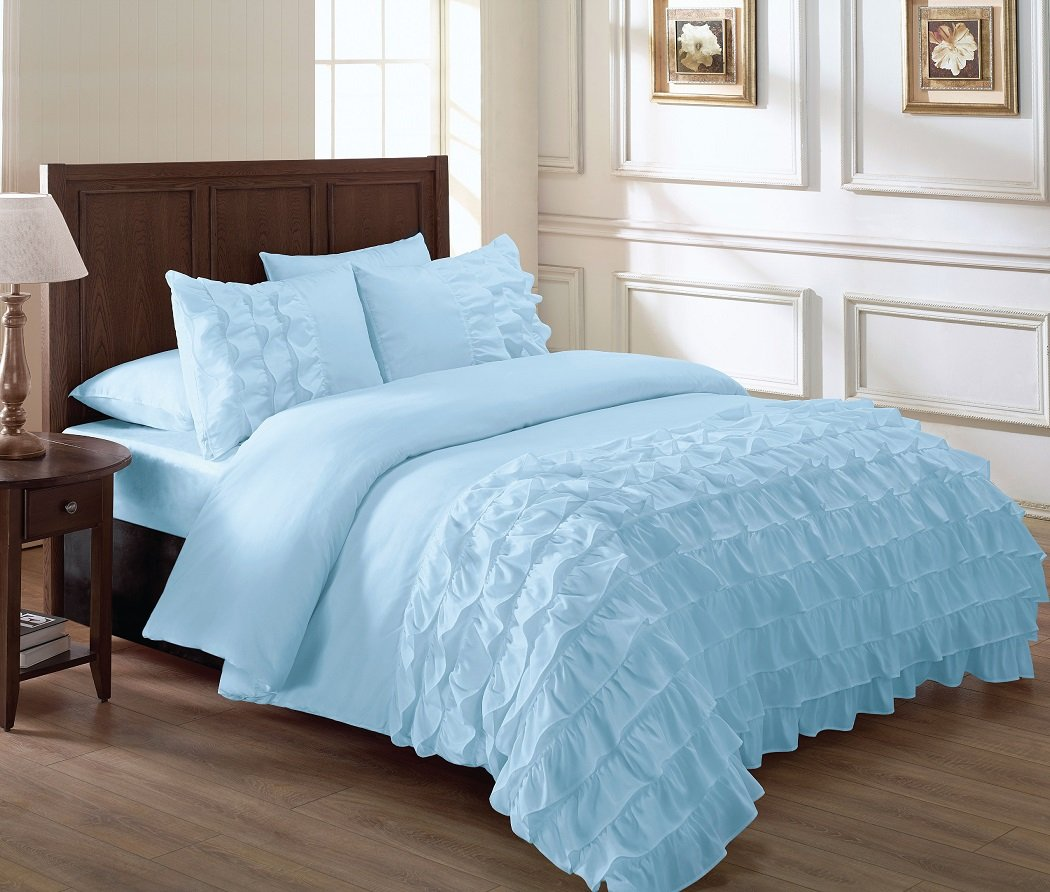 blue ruffle bedding sets. Black Bedroom Furniture Sets. Home Design Ideas