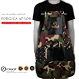FORGICA Professional Leather Aprons For Women Hair Cutting aprons for men Hairdressing Barber Apron Cape for Salon Hairstylist - Multi-use, Adjustable with 8 pockets- (Color: Dark green and white, Tamaño: Adjustable XXL)