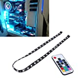 LEDdess PC RGB LED Light Strip with RF Wireless Remote Control via Magnetic for Computer Case Mid Tower (60cm, 5050 SMD 30leds, SATA Contact, H Series) (Color: 60CM RF Control, Tamaño: 60CM RF Control)