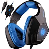 SADES A60 7.1 Surround Sound headphones with Mic USB PC Gaming Headset Stereo headsets Headband with High Sensitivity Microphone Vibration Noise-Canceling Volume Control LED Light(BlackBlue)