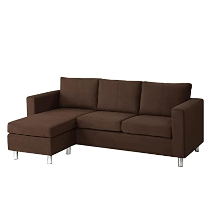 Sectional Sofa for Small Spaces Chaise Sofa Design with Easy to Clean Microfiber in Brown by Dorel Asia (M3054-2MWC)