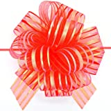 FQTANJU Pull Bow, Large, Organza, 6 Inches, Red, 5 Pieces