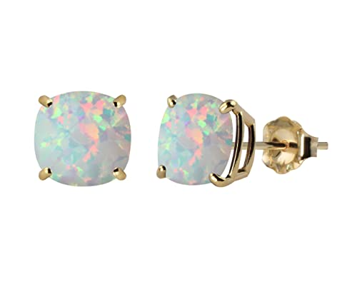 Checkerboard Cushion Gemstone Stud Earrings