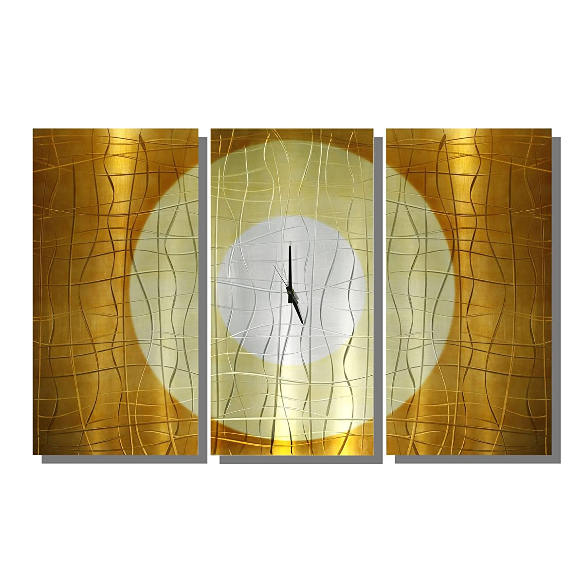 Large Gold Abstract Metal Wall Clock - Handcrafted Functional Art ...
