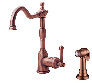 Danze D401157AC Opulence Single Handle Kitchen Faucet with Side Spray, Antique Copper