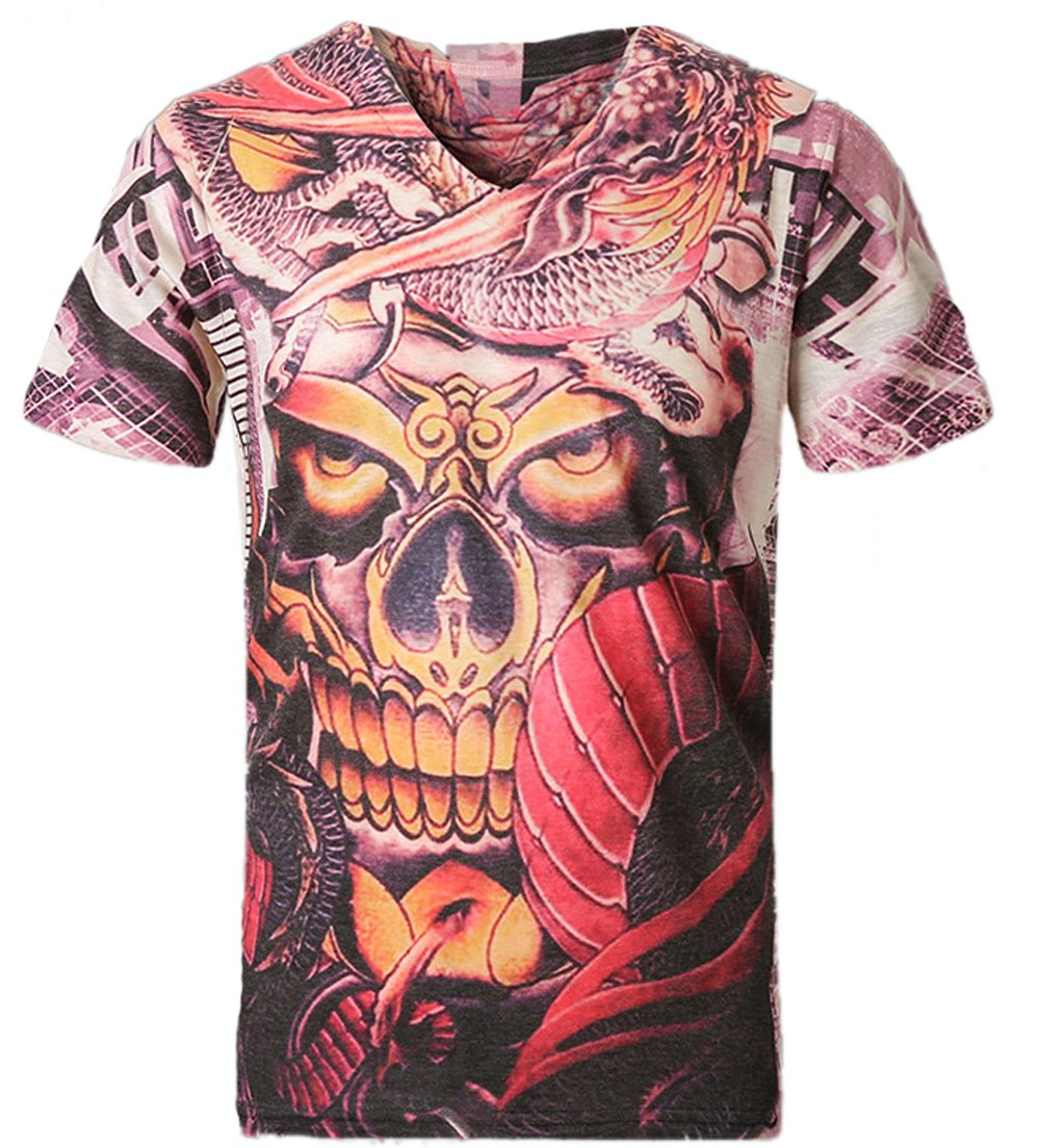 Men Fashion Casual 3D Skull Print Mercerized Cotton T-shirt