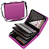 Shulaner 180 Slots Pencil Case Leaves Print Colored Pencils Holder Large Capacity Portable Pencil Bag Organizer (Purple, 180) (Color: Purple, Tamaño: 180)