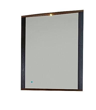 Paul Feh h173050appendiabiti Specchio finto legno di quercia San Remo, Riproduzione con inserti in ardesia, con luce LED e controllo touch, circa 95x 90x 6cm