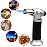 Buluri Culinary Butane Torch, Windproof Culinary Torch, Blow Torch Butane Torch Flame Gun With Safety Lock 1300°C for Hiking, Camping, Cooking, Kitchen, Creme Brulee, BBQ(Butane Gas Not Included) (Color: Silver, Tamaño: silver + black)