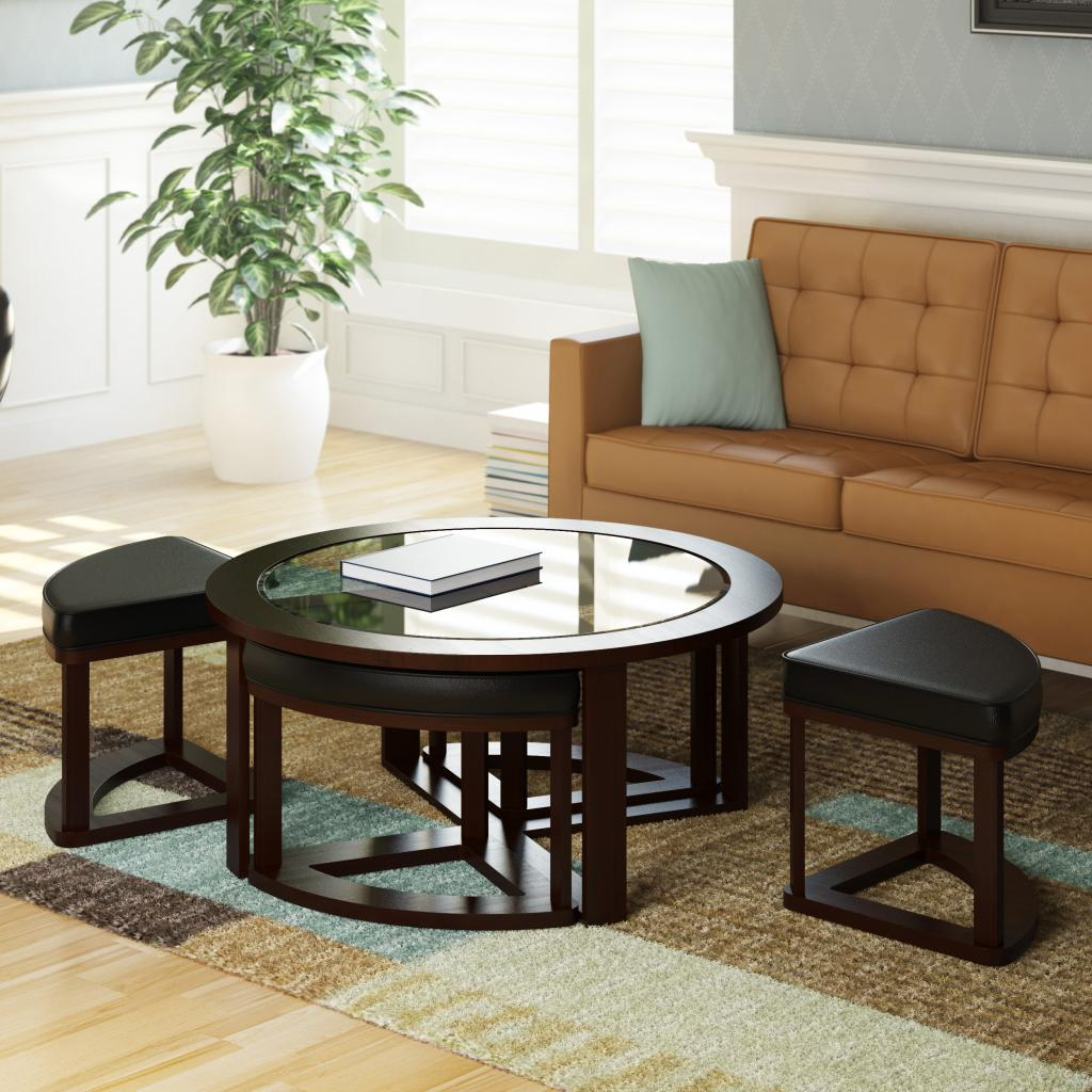 Corliving Lbg 599 K Belgrove Stained Coffee Table With 4 Stools Dark Espresso