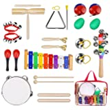 YISSVIC Kids Musical Instruments Tamborines Drum Set 12Pcs Xylophone Percussion Toy with Carrying Bag (Tamaño: 12Pc)