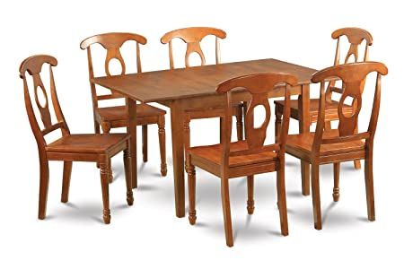 East West Furniture MLNA7-SBR-W 7-Piece Kitchen Nook Dining Table Set