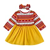Gotd 2PCs Toddler Kids Baby Girl Floral Print Dress+Headband Outfits Clothes Set Long Sleeve (6-12 Months, Multicolor)