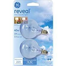 GE Lighting 48705 40-Watt Reveal Candelabra Frosted Globe G16.5, 2-Pack