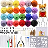 PP OPOUNT Needle Felting Starter Kit Including 24 Colors Wool Roving Fibre Yarn, 25 Pieces Wool Felt Tools and Instructions for DIY Needle Felting (Color: Silver)