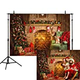 Allenjoy 8x6ft Merry Christmas Backdrop Vintage Fireplace Tree Gifts Socks Wood Room Xmas Photography Background Family Children Festival Party Decoration Cake Table Banner Photo Studio Booth Prop (Color: Fireplace, Tamaño: 8'x6')