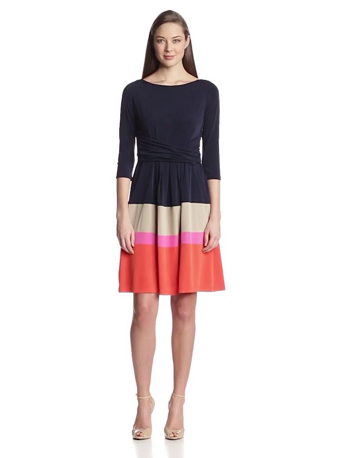 Jessica Howard Womens Three Quarter Sleeve Criss Cross Waist Dress