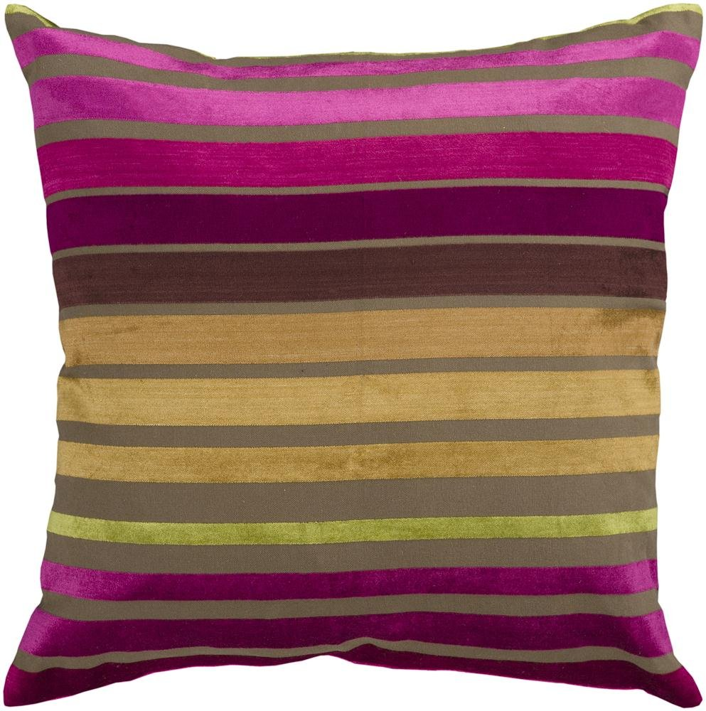 Surya JS-020 Hand Crafted 60% Viscose / 40% Cotton Fuschia 18 x 18 Striped Decorative Pillow