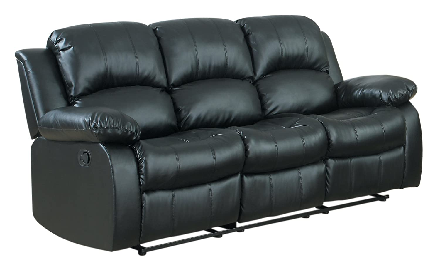 Homelegance Double Reclining Sofa - Black Bonded Leather