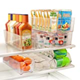 Greenco GRC0250 6 Piece Refrigerator and Freezer Stackable Storage Organizer Bins with Handles, Clear (Color: Clear)