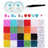 Nibiru 6800pcs Pony Beads Kit, Mix Color Bicone/Rondelle/Letter Beads Assorted in Box, Small Beads for Bracelet Making Jewelry Making, with Beading Cord & Tweezers (Tamaño: mixed beads 6800pcs)