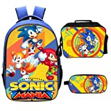 Qushy Sonic Backpack Lunch Box Pencil Case Outdoor School Package (C) (Color: C)