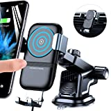 andobil Wireless Car Charger Mount, 1 Sec Auto-Clamping Fast Charging Phone Holder for Car Windshield Dashboard Air Vent, Compatible with iPhone Xs/Xs Max/XR/X/8,Samsung Galaxy S10/S10e/S9/S9+/S8 Etc (Color: Gravity Air Vents+Dashboard, Tamaño: Dashboard)