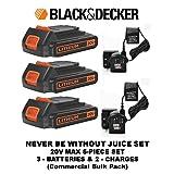 Black & Decker LBXR20 20-Volt Max Lithium-Ion Battery Pack & Black & Decker 20v Lithium-ion Charger #90590282 (3 BATTERIES & 2 CHARGER 5 PIECE SET) (Color: ORANGE & BLACK, Tamaño: 3 BATTERIES & 2 CHARGER 5 PIECE SET)