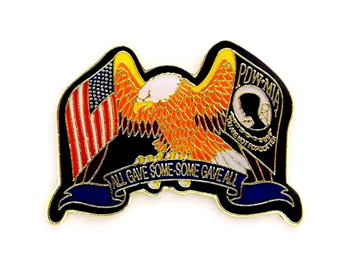 Eagle  POW MIA And USA Flags All Gave Some Some Gave All Lapel Hat Pin PPM6042