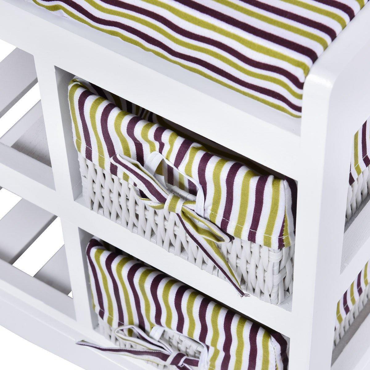AyaMastro 2Tier White Wooden Storage Shoe Bench Organizer Seat w/ 2 Drawer with Ebook