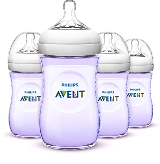 Philips AVENT Natural Bottle, Purple, 9 Ounce, 4 Count