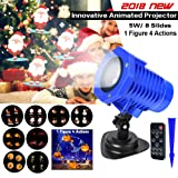 LED Projector Lights, Christmas Projection Lights, 8 Replaceable Slides IP65 Waterproof Landscape Animated Projector Light with Remote Control for Halloween Christmas Party and Garden Decoration (Color: Blue)