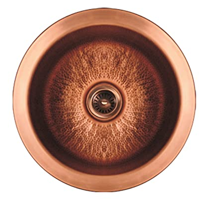 Whitehaus WH1818COPR-HCO Haus 18 1/4-Inch Large Round Drop-In/Undermount Prep Sink with a Hammered Texture, Hammered Copper