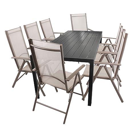 9tlg. Gartenmöbel Set Aluminium Polywood/Non Wood Gartentisch 205x90cm Schwarz + 8x Hochlehner 7-Positionen klappbar mit Textilenbespannung Champagner Sitzgarnitur