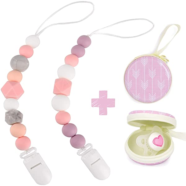 Pack of 3 by Milanti 18 Name Tags Labels Premium... Pacifier Clip for Girls