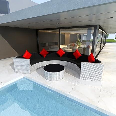 Mobili da giardino in rattan set Lounge semicircolare bianco