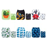 ALVABABY Baby Cloth Diapers 6 Pack with 12 Inserts Adjustable Washable and Reusable Pocket Dipaers Baby Boys 6DM56 (Color: Sets 6DM56, Tamaño: with microfiber inserts)