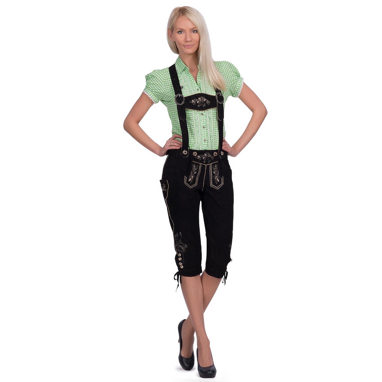Damen Trachten Lederhose in schwarz aus Ziegenveloursleder mit außergewöhnlicher Stickerei, verfügbar in Größe 34 bis 46 günstig kaufen