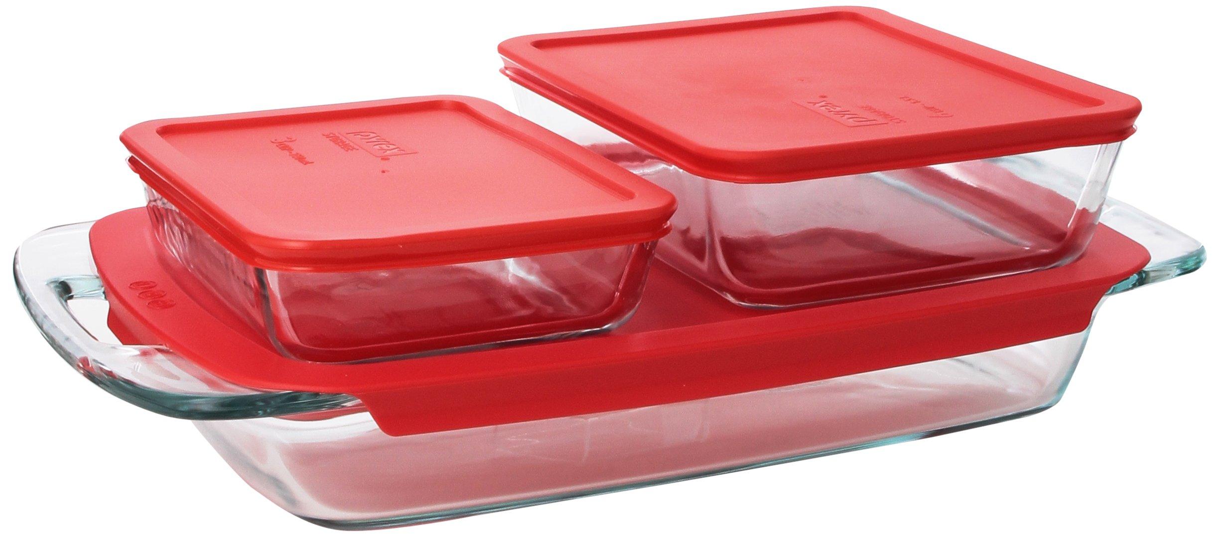 pyrex easy grab 6 piece glass bakeware and food storage set red lid pyrex. Black Bedroom Furniture Sets. Home Design Ideas