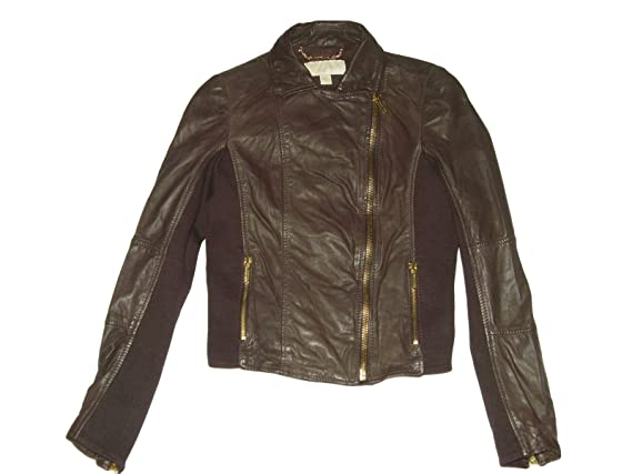 Michael Kors Cropped Leather Jacket Chocolate Brown