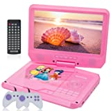 WONNIE 11.5'' Kids DVD Player Portable with 9.5'' Swivel Screen, Games/USB/SD Support Built-in 5 Hours Rechargeable Battery (Color: Pink, Tamaño: 11.5 inch)